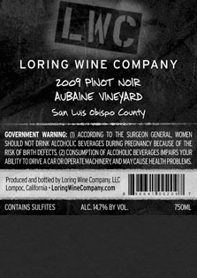 More about 00209-LWC-2009-Pinot-Aubaine-750ML-Label